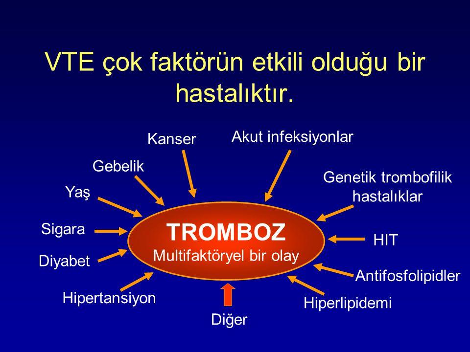 VTE çok faktörün etkili olduğu bir hastalıktır. TROMBOZ Multifaktöryel bir olay Hipertansiyon Diyabet Sigara Yaş Gebelik Kanser Antifosfolipidler Gene