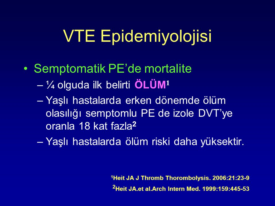 VTE Epidemiyolojisi Semptomatik PE'de mortalite –¼ olguda ilk belirti ÖLÜM 1 –Yaşlı hastalarda erken dönemde ölüm olasılığı semptomlu PE de izole DVT'ye oranla 18 kat fazla 2 –Yaşlı hastalarda ölüm riski daha yüksektir.