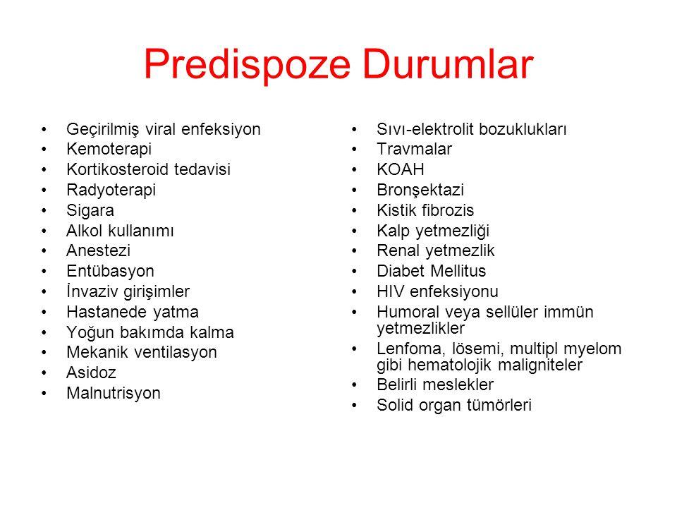 Predispoze Durumlar Geçirilmiş viral enfeksiyon Kemoterapi Kortikosteroid tedavisi Radyoterapi Sigara Alkol kullanımı Anestezi Entübasyon İnvaziv girişimler Hastanede yatma Yoğun bakımda kalma Mekanik ventilasyon Asidoz Malnutrisyon Sıvı-elektrolit bozuklukları Travmalar KOAH Bronşektazi Kistik fibrozis Kalp yetmezliği Renal yetmezlik Diabet Mellitus HIV enfeksiyonu Humoral veya sellüler immün yetmezlikler Lenfoma, lösemi, multipl myelom gibi hematolojik maligniteler Belirli meslekler Solid organ tümörleri