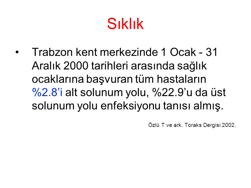 Sıklık Trabzon kent merkezinde 1 Ocak - 31 Aralık 2000 tarihleri arasında sağlık ocaklarına başvuran tüm hastaların %2.8'i alt solunum yolu, %22.9'u da üst solunum yolu enfeksiyonu tanısı almış.