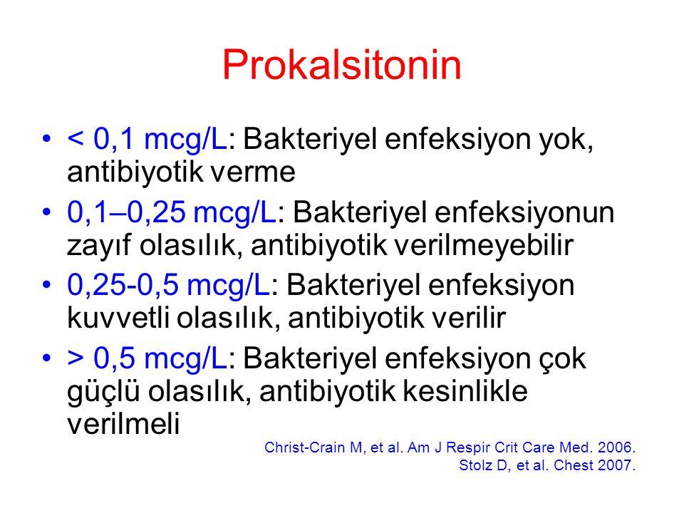 Prokalsitonin < 0,1 mcg/L: Bakteriyel enfeksiyon yok, antibiyotik verme 0,1–0,25 mcg/L: Bakteriyel enfeksiyonun zayıf olasılık, antibiyotik verilmeyebilir 0,25-0,5 mcg/L: Bakteriyel enfeksiyon kuvvetli olasılık, antibiyotik verilir > 0,5 mcg/L: Bakteriyel enfeksiyon çok güçlü olasılık, antibiyotik kesinlikle verilmeli Christ-Crain M, et al.