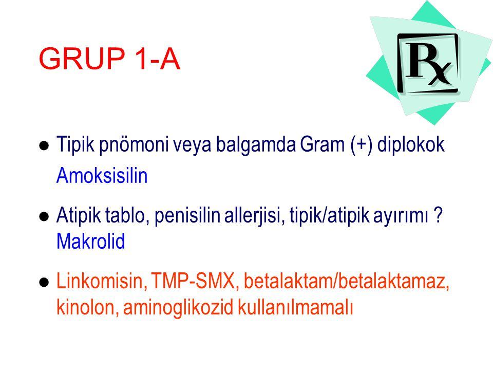 l Tipik pnömoni veya balgamda Gram (+) diplokok Amoksisilin l Atipik tablo, penisilin allerjisi, tipik/atipik ayırımı .