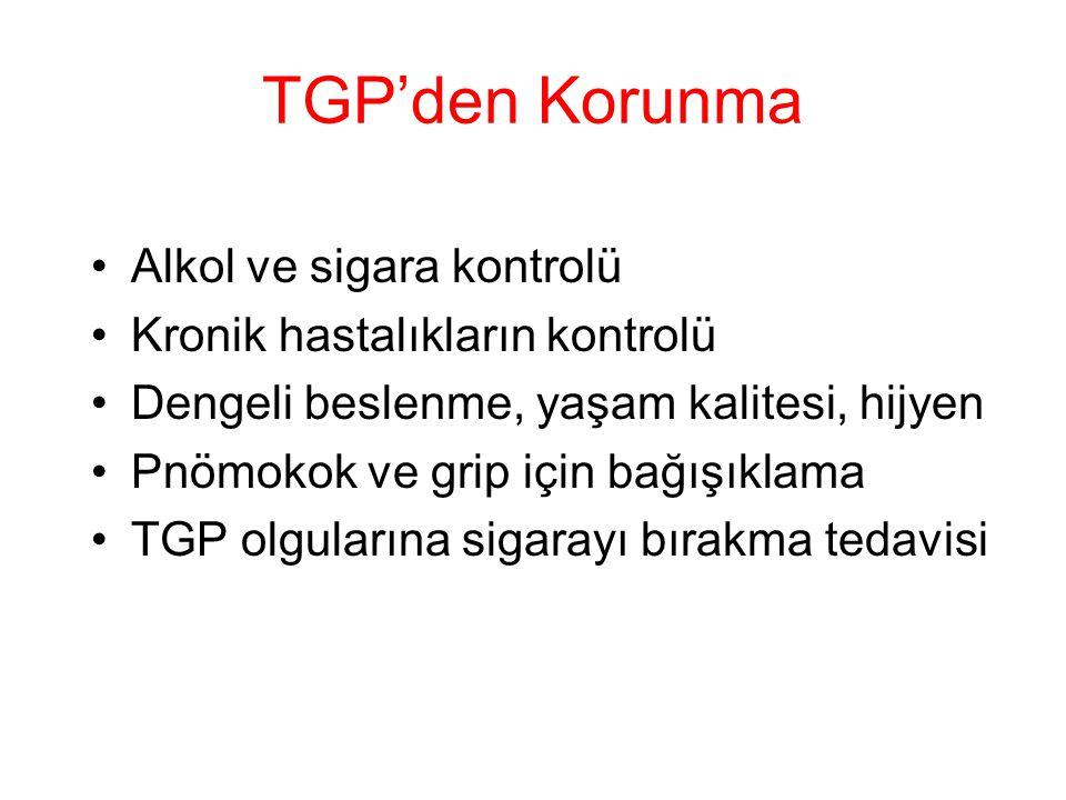 TGP'den Korunma Alkol ve sigara kontrolü Kronik hastalıkların kontrolü Dengeli beslenme, yaşam kalitesi, hijyen Pnömokok ve grip için bağışıklama TGP olgularına sigarayı bırakma tedavisi