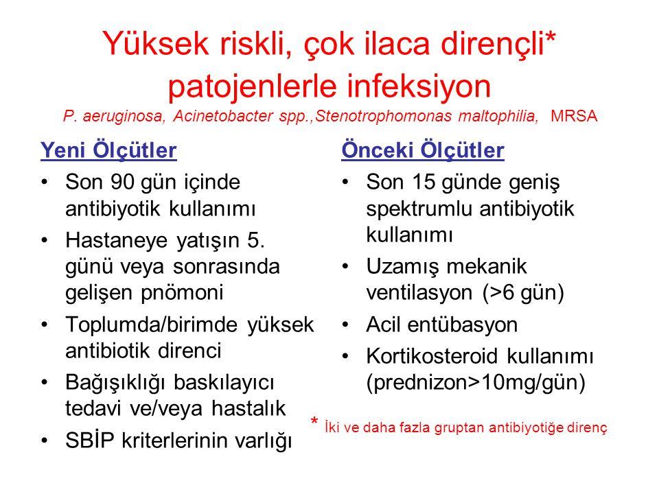 Yüksek riskli, çok ilaca dirençli* patojenlerle infeksiyon P.