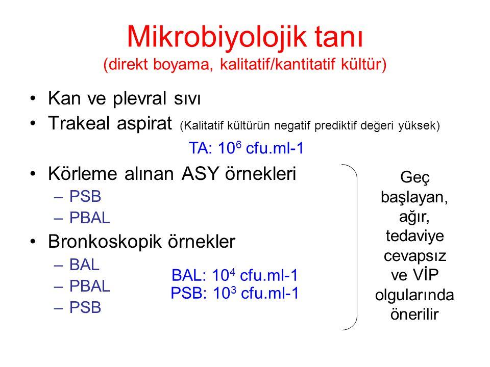 Kan ve plevral sıvı Trakeal aspirat (Kalitatif kültürün negatif prediktif değeri yüksek) Körleme alınan ASY örnekleri –PSB –PBAL Bronkoskopik örnekler –BAL –PBAL –PSB Mikrobiyolojik tanı (direkt boyama, kalitatif/kantitatif kültür) Geç başlayan, ağır, tedaviye cevapsız ve VİP olgularında önerilir BAL: 10 4 cfu.ml-1 PSB: 10 3 cfu.ml-1 TA: 10 6 cfu.ml-1