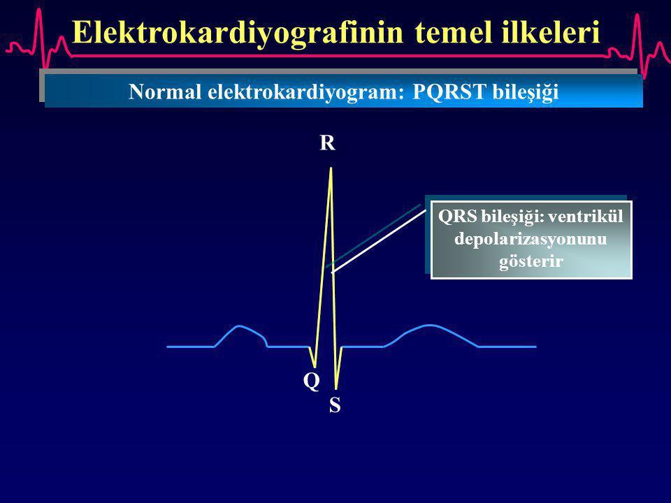 Elektrokardiyografinin temel ilkeleri Normal elektrokardiyogram: PQRST bileşiği Q R S QRS bileşiği: ventrikül depolarizasyonunu gösterir