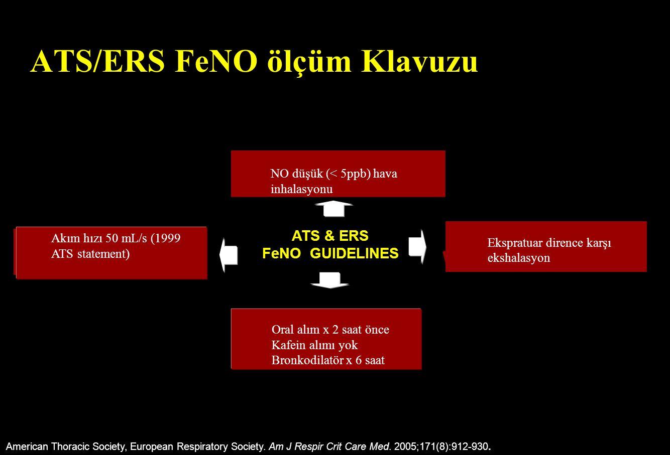 ATS/ERS FeNO ölçüm Klavuzu American Thoracic Society, European Respiratory Society. Am J Respir Crit Care Med. 2005;171(8):912-930. Oral alım x 2 saat