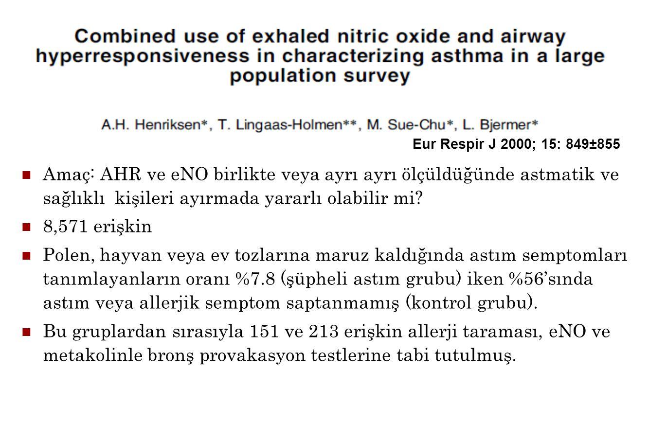 Eur Respir J 2000; 15: 849±855 Amaç: AHR ve eNO birlikte veya ayrı ayrı ölçüldüğünde astmatik ve sağlıklı kişileri ayırmada yararlı olabilir mi? 8,571