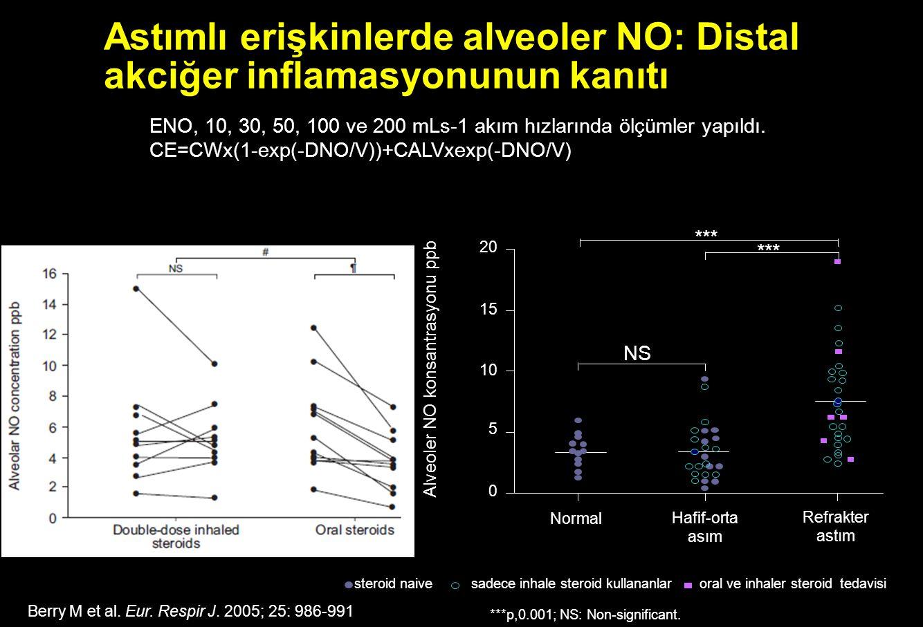 Astımlı erişkinlerde alveoler NO: Distal akciğer inflamasyonunun kanıtı Alveoler NO konsantrasyonu ppb Normal Hafif-orta asım Refrakter astım 20 15 10