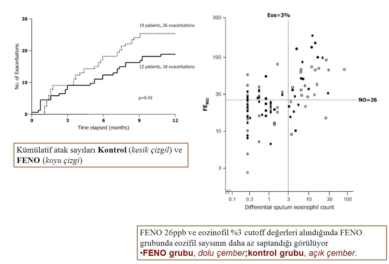Kümülatif atak sayıları Kontrol (kesik çizgil) ve FENO (koyu çizgi) FENO 26ppb ve eozinofil %3 cutoff değerleri alındığında FENO grubunda eozifil says