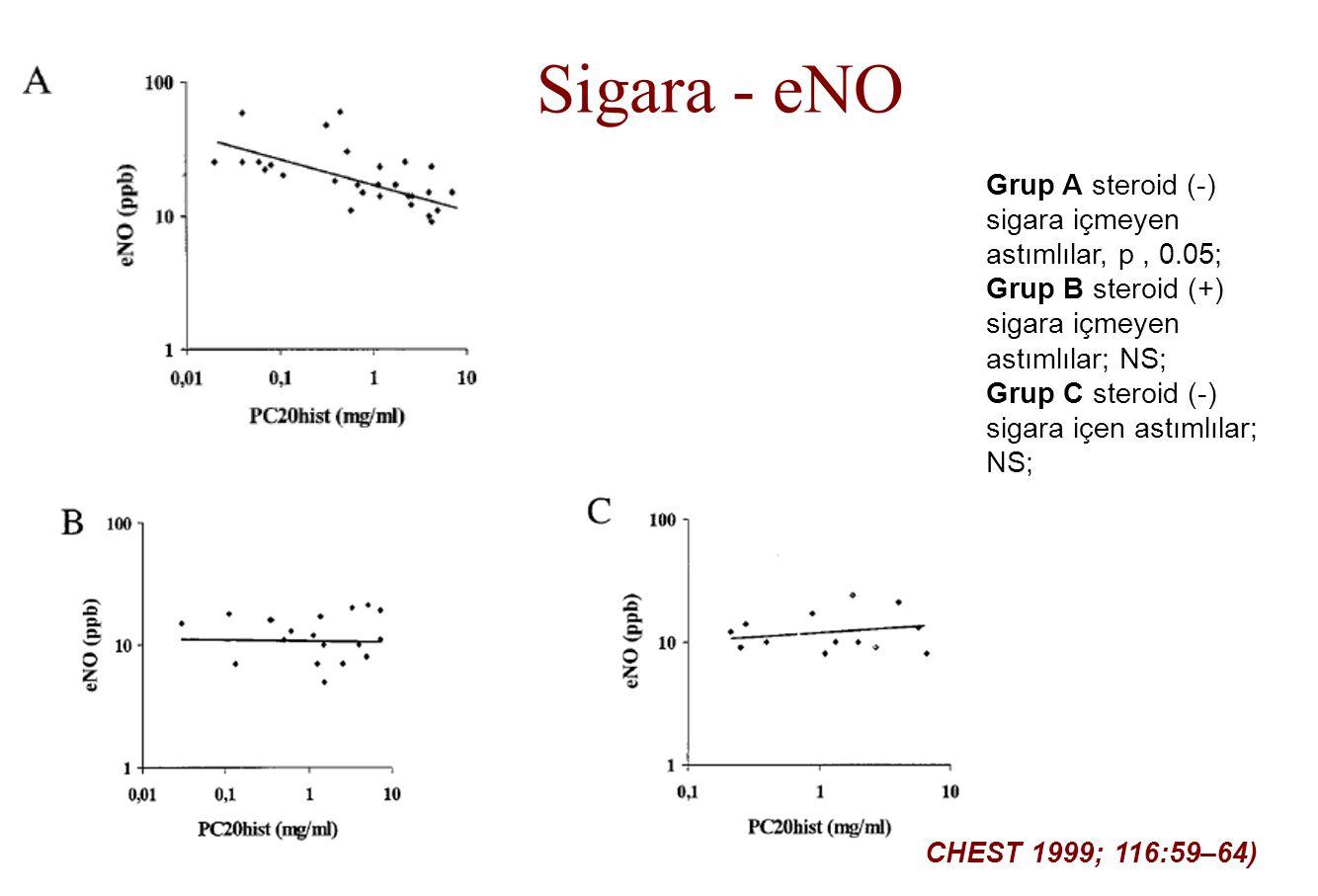 Grup A steroid (-) sigara içmeyen astımlılar, p, 0.05; Grup B steroid (+) sigara içmeyen astımlılar; NS; Grup C steroid (-) sigara içen astımlılar; NS