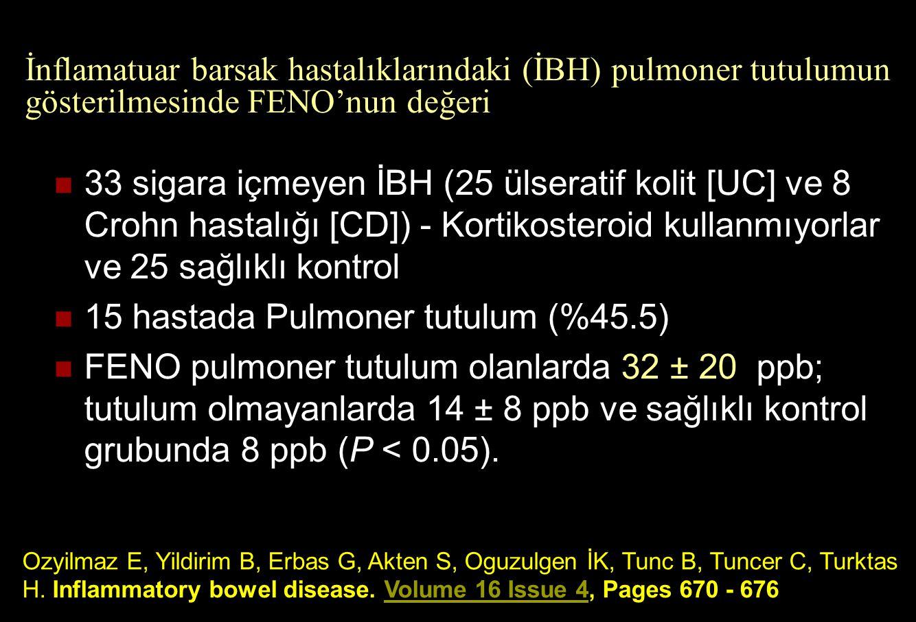 İnflamatuar barsak hastalıklarındaki (İBH) pulmoner tutulumun gösterilmesinde FENO'nun değeri 33 sigara içmeyen İBH (25 ülseratif kolit [UC] ve 8 Croh