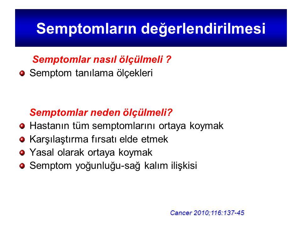 Semptomların değerlendirilmesi Semptomlar nasıl ölçülmeli ? Semptom tanılama ölçekleri Semptomlar neden ölçülmeli? Hastanın tüm semptomlarını ortaya k