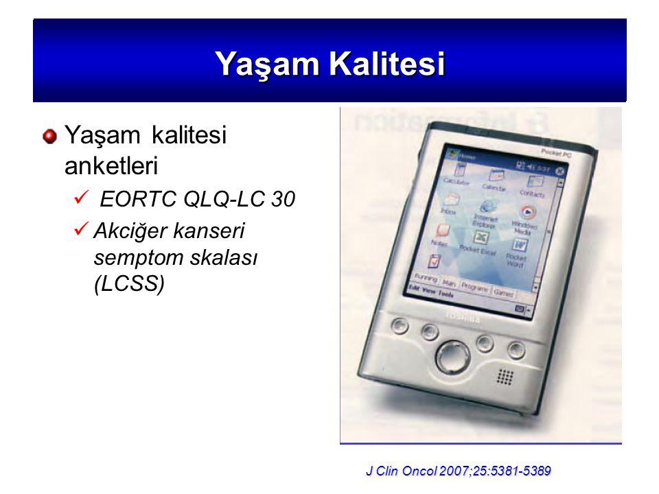 Yaşam Kalitesi Yaşam kalitesi anketleri EORTC QLQ-LC 30 Akciğer kanseri semptom skalası (LCSS) J Clin Oncol 2007;25:5381-5389 Yaşam Kalitesi