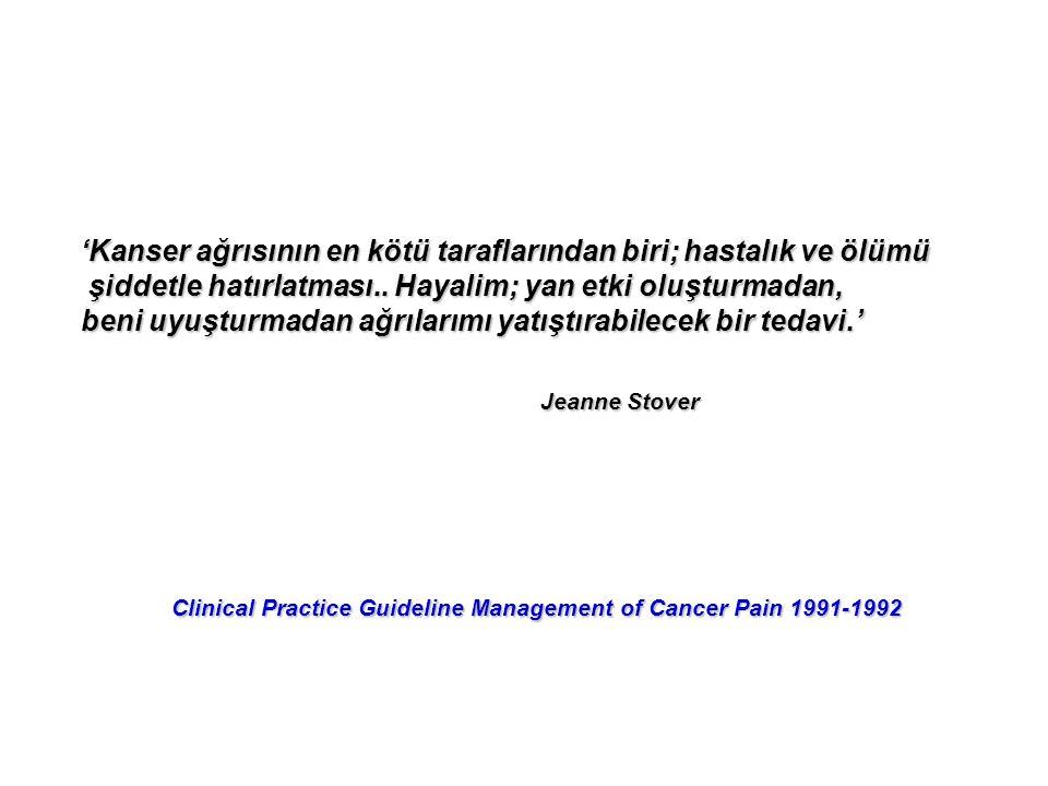 'Kanser ağrısının en kötü taraflarından biri; hastalık ve ölümü şiddetle hatırlatması.. Hayalim; yan etki oluşturmadan, şiddetle hatırlatması.. Hayali