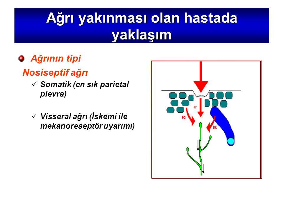 Ağrı yakınması olan hastada yaklaşım Ağrının tipi Nosiseptif ağrı Somatik (en sık parietal plevra) Visseral ağrı (İskemi ile mekanoreseptör uyarımı)