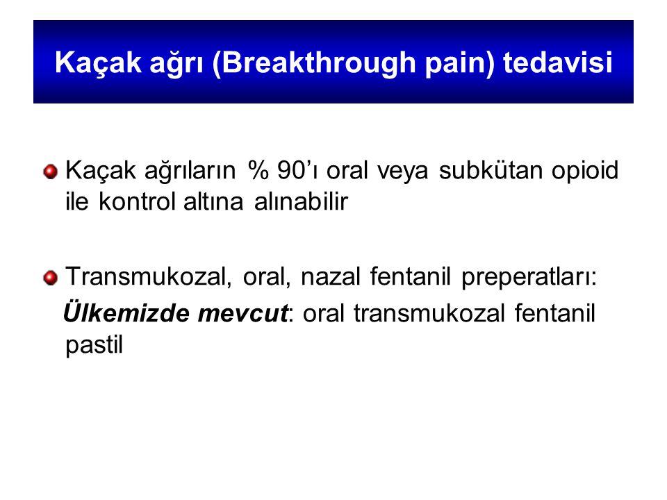 Kaçak ağrı (Breakthrough pain) tedavisi Kaçak ağrıların % 90'ı oral veya subkütan opioid ile kontrol altına alınabilir Transmukozal, oral, nazal fentanil preperatları: Ülkemizde mevcut: oral transmukozal fentanil pastil