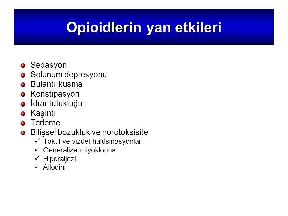 Opioidlerin yan etkileri Sedasyon Solunum depresyonu Bulantı-kusma Konstipasyon İdrar tutukluğu Kaşıntı Terleme Bilişsel bozukluk ve nörotoksisite Taktil ve vizüel halüsinasyonlar Generalize miyoklonus Hiperaljezi Allodini