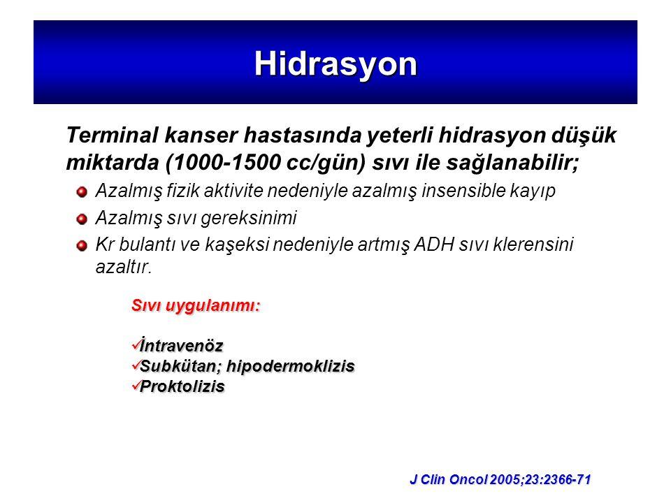 Hidrasyon Terminal kanser hastasında yeterli hidrasyon düşük miktarda (1000-1500 cc/gün) sıvı ile sağlanabilir; Azalmış fizik aktivite nedeniyle azalm