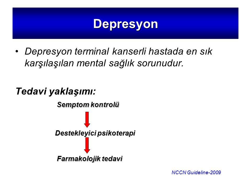 Depresyon Depresyon terminal kanserli hastada en sık karşılaşılan mental sağlık sorunudur. Tedavi yaklaşımı: Semptom kontrolü Destekleyici psikoterapi