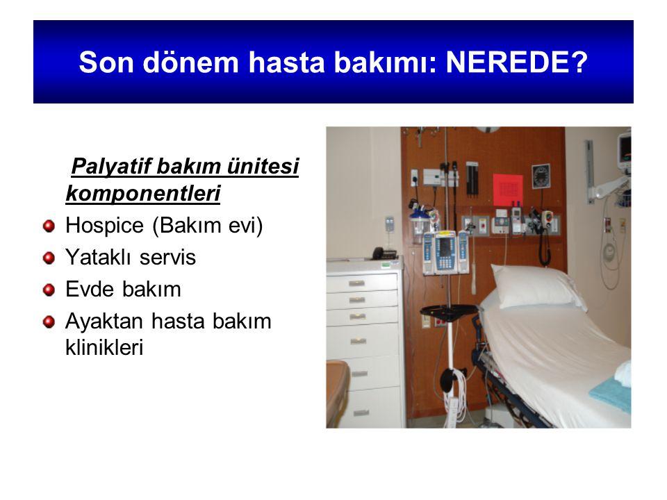 Son dönem hasta bakımı: NEREDE? Palyatif bakım ünitesi komponentleri Hospice (Bakım evi) Yataklı servis Evde bakım Ayaktan hasta bakım klinikleri