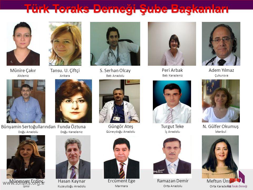 www.toraks.org.tr Türk Toraks Derneği Şube Başkanları Münire Çakır Akdeniz Tansu. U. Çiftçi Ankara S. Serhan Olcay Batı Anadolu Peri Arbak Batı Karade