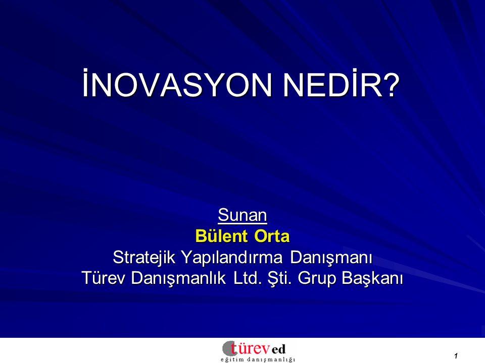 1 İNOVASYON NEDİR.Sunan Bülent Orta Stratejik Yapılandırma Danışmanı Türev Danışmanlık Ltd.