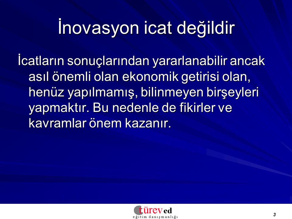 3 İnovasyon icat değildir İcatların sonuçlarından yararlanabilir ancak asıl önemli olan ekonomik getirisi olan, henüz yapılmamış, bilinmeyen birşeyleri yapmaktır.