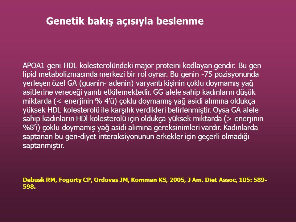 APOA1 geni HDL kolesterolündeki major proteini kodlayan gendir. Bu gen lipid metabolizmasında merkezi bir rol oynar. Bu genin -75 pozisyonunda yerleşe