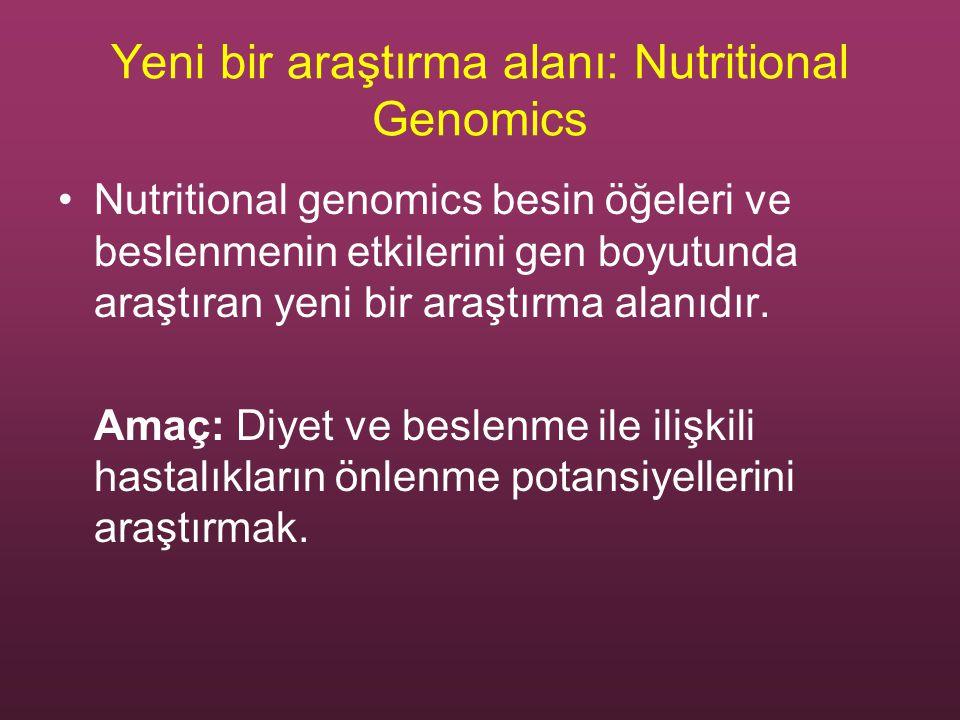 Yeni bir araştırma alanı: Nutritional Genomics Nutritional genomics besin öğeleri ve beslenmenin etkilerini gen boyutunda araştıran yeni bir araştırma