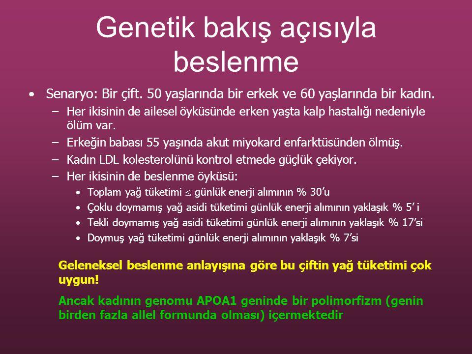 Genetik bakış açısıyla beslenme Senaryo: Bir çift. 50 yaşlarında bir erkek ve 60 yaşlarında bir kadın. –Her ikisinin de ailesel öyküsünde erken yaşta