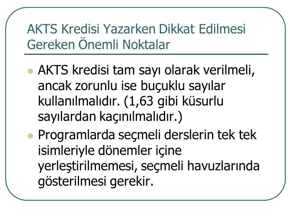 AKTS Kredisi Yazarken Dikkat Edilmesi Gereken Önemli Noktalar AKTS kredisi tam sayı olarak verilmeli, ancak zorunlu ise buçuklu sayılar kullanılmalıdı