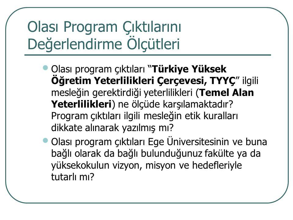 """Olası Program Çıktılarını Değerlendirme Ölçütleri Olası program çıktıları """"Türkiye Yüksek Öğretim Yeterlilikleri Çerçevesi, TYYÇ"""" ilgili mesleğin gere"""