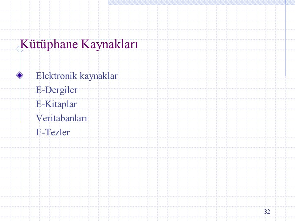 32 Kütüphane Kaynakları Elektronik kaynaklar E-Dergiler E-Kitaplar Veritabanları E-Tezler