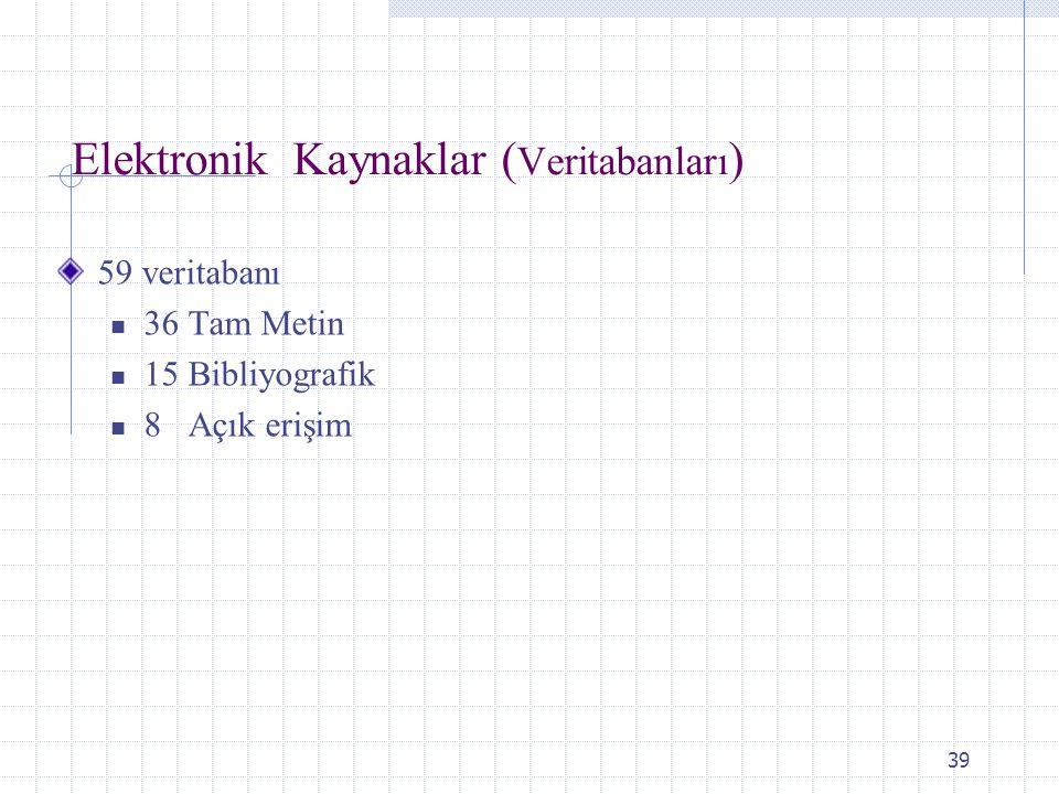39 Elektronik Kaynaklar ( Veritabanları ) 59 veritabanı 36 Tam Metin 15 Bibliyografik 8 Açık erişim