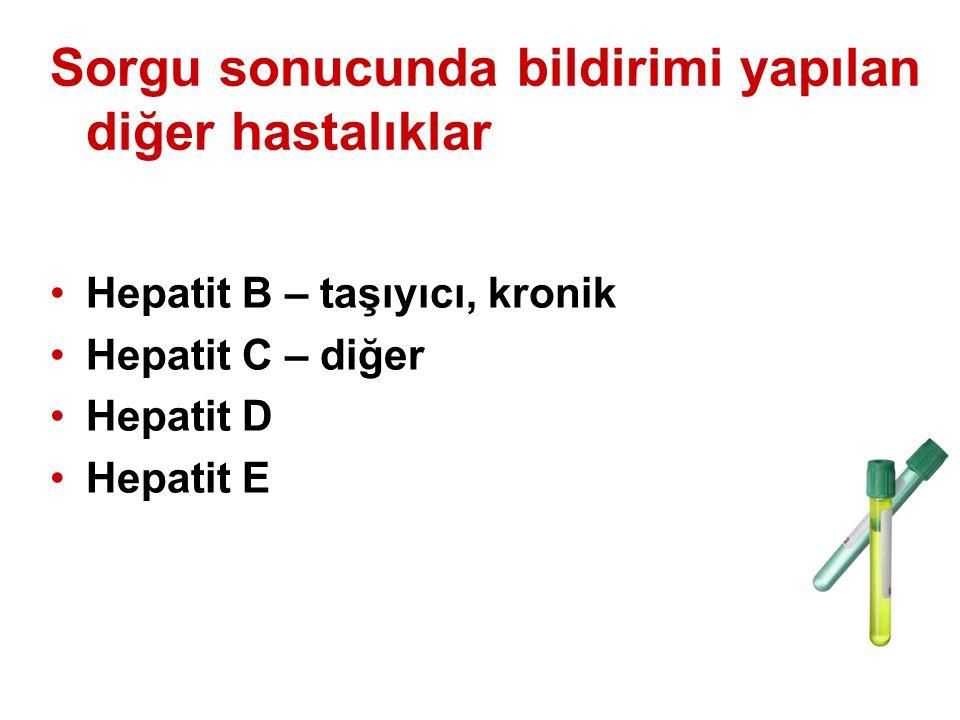 Sorgu sonucunda bildirimi yapılan diğer hastalıklar Hepatit B – taşıyıcı, kronik Hepatit C – diğer Hepatit D Hepatit E