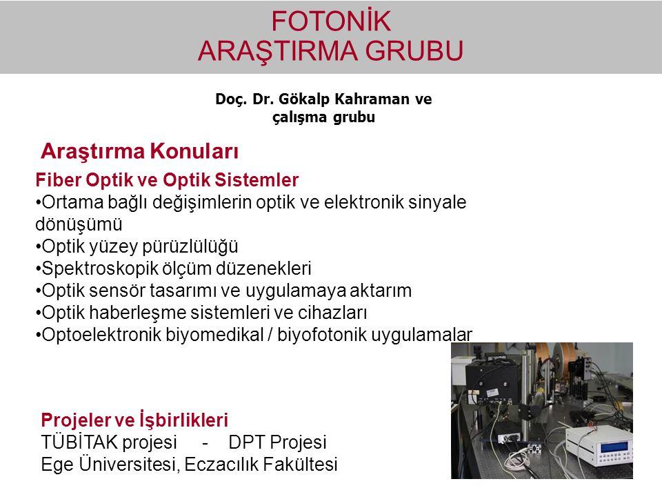 Doç. Dr. Gökalp Kahraman ve çalışma grubu FOTONİK ARAŞTIRMA GRUBU Fiber Optik ve Optik Sistemler Ortama bağlı değişimlerin optik ve elektronik sinyale