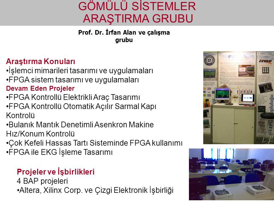 Prof. Dr. İrfan Alan ve çalışma grubu GÖMÜLÜ SİSTEMLER ARAŞTIRMA GRUBU Araştırma Konuları İşlemci mimarileri tasarımı ve uygulamaları FPGA sistem tasa