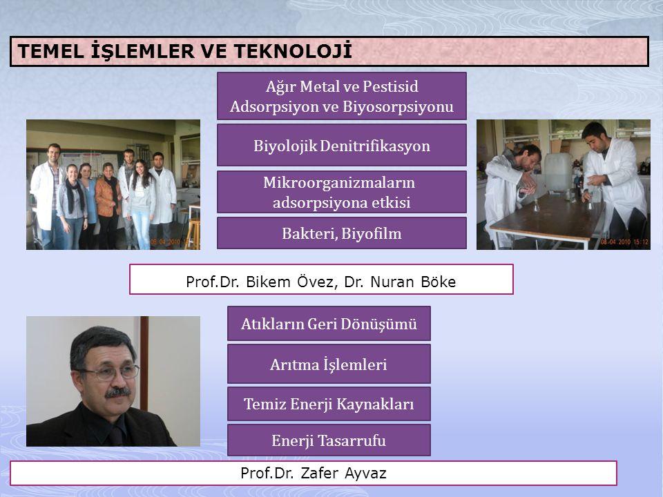 TEMEL İŞLEMLER VE TEKNOLOJİ Prof.Dr. Bikem Övez, Dr. Nuran Böke Ağır Metal ve Pestisid Adsorpsiyon ve Biyosorpsiyonu Biyolojik Denitrifikasyon Mikroor