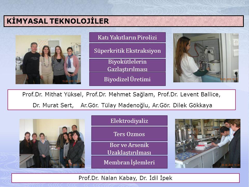 KİMYASAL TEKNOLOJİLER Prof.Dr. Mithat Yüksel, Prof.Dr. Mehmet Sağlam, Prof.Dr. Levent Ballice, Dr. Murat Sert, Ar.Gör. Tülay Madenoğlu, Ar.Gör. Dilek