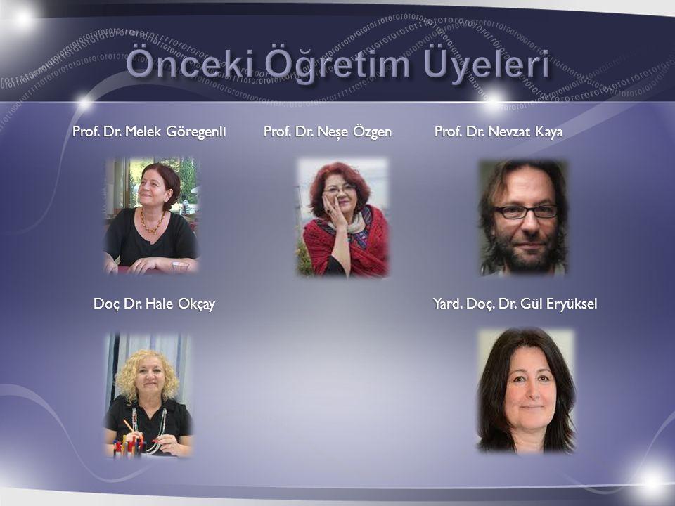 Prof. Dr. Melek Göregenli Prof. Dr. Neşe Özgen Prof. Dr. Nevzat Kaya Doç Dr. Hale Okçay Yard. Doç. Dr. Gül Eryüksel Doç Dr. Hale Okçay Yard. Doç. Dr.
