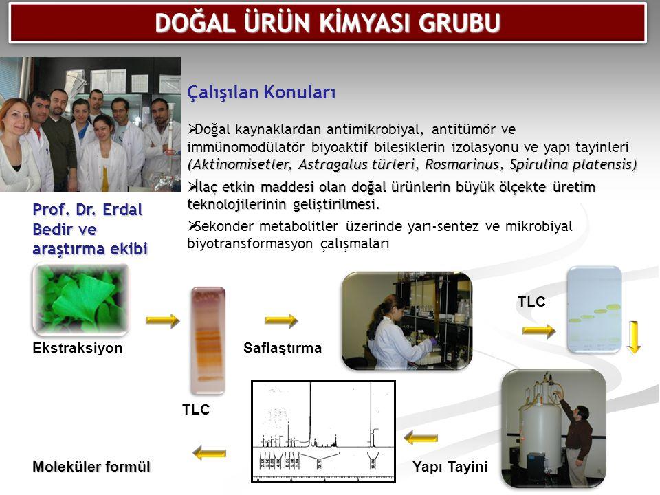 Moleküler formül EkstraksiyonSaflaştırma Yapı Tayini TLC Çalışılan Konuları (Aktinomisetler, Astragalus türleri, Rosmarinus, Spirulina platensis)  Do