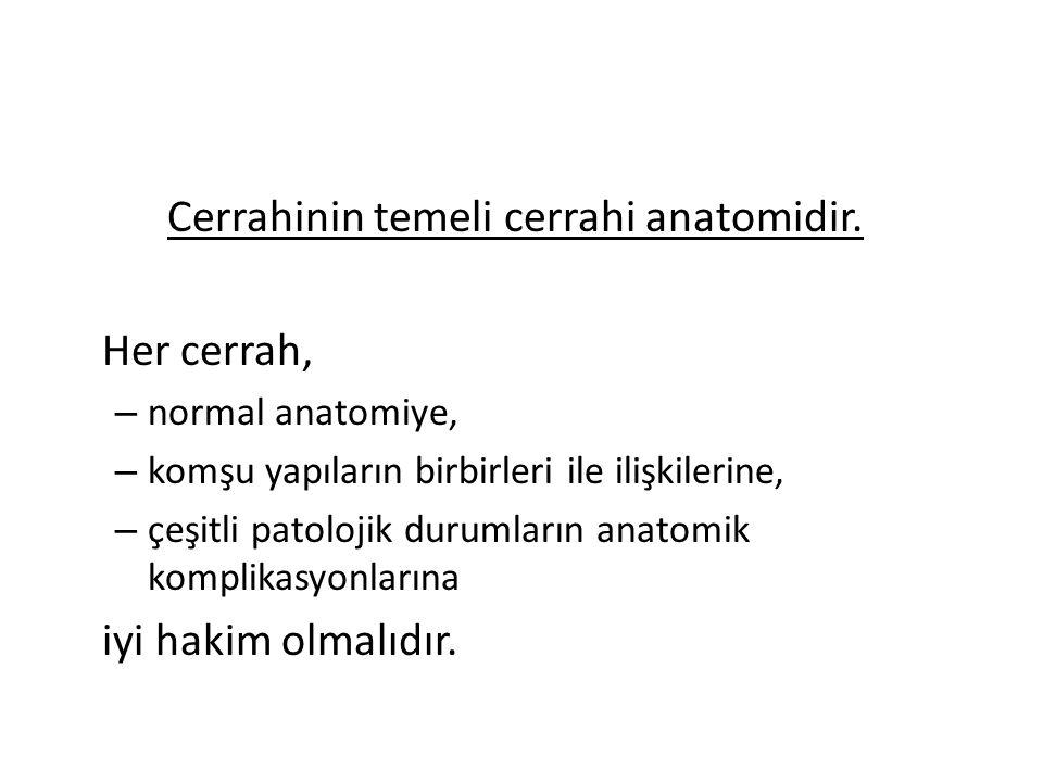 Cerrahinin temeli cerrahi anatomidir.