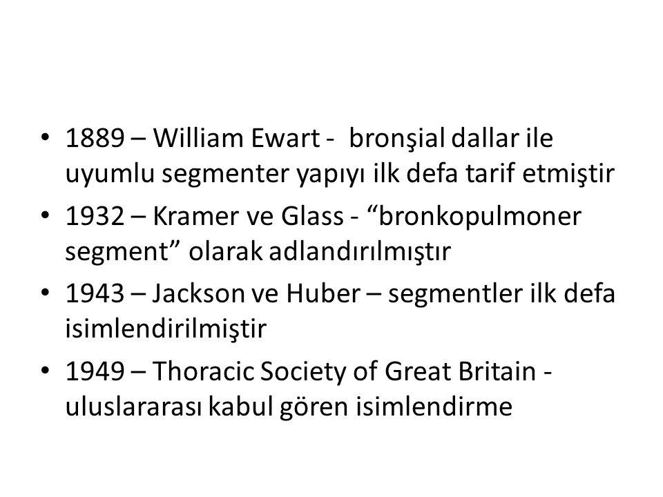 1889 – William Ewart - bronşial dallar ile uyumlu segmenter yapıyı ilk defa tarif etmiştir 1932 – Kramer ve Glass - bronkopulmoner segment olarak adlandırılmıştır 1943 – Jackson ve Huber – segmentler ilk defa isimlendirilmiştir 1949 – Thoracic Society of Great Britain - uluslararası kabul gören isimlendirme
