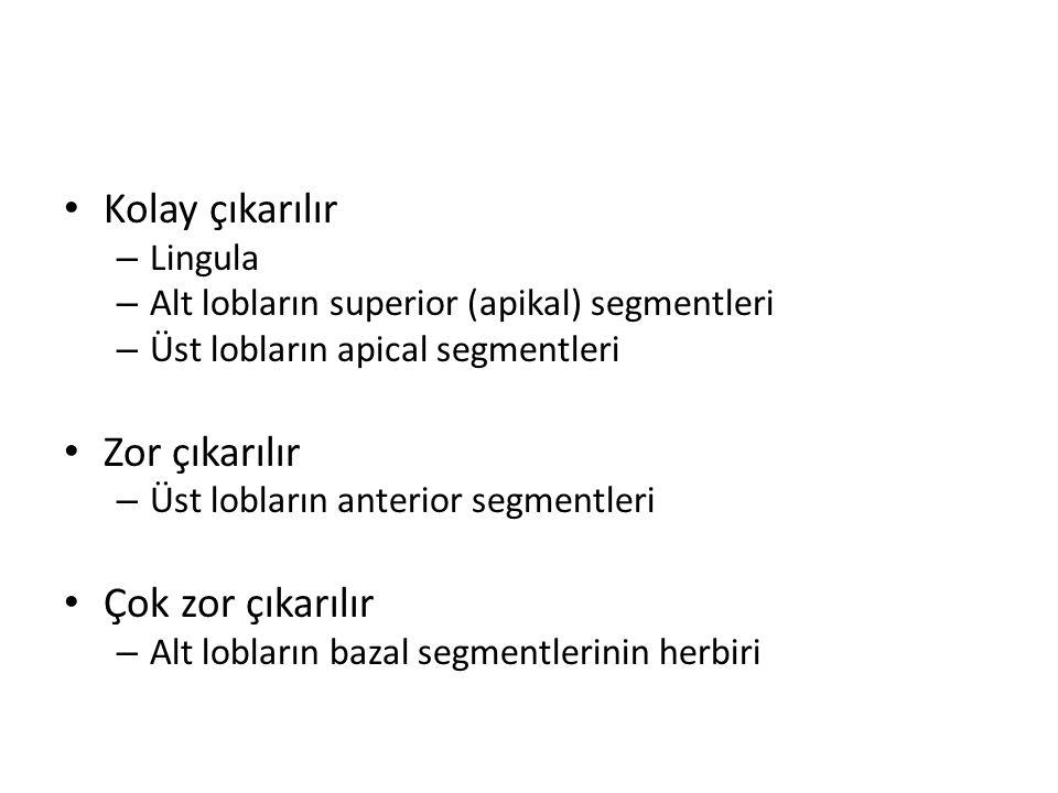 Kolay çıkarılır – Lingula – Alt lobların superior (apikal) segmentleri – Üst lobların apical segmentleri Zor çıkarılır – Üst lobların anterior segmentleri Çok zor çıkarılır – Alt lobların bazal segmentlerinin herbiri
