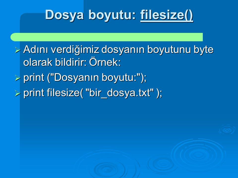 Dosya boyutu: filesize()  Adını verdiğimiz dosyanın boyutunu byte olarak bildirir: Örnek:  print (