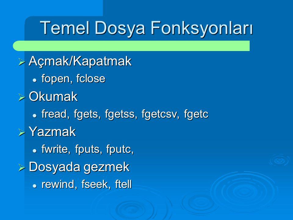Temel Dosya Fonksyonları  Açmak/Kapatmak fopen, fclose fopen, fclose  Okumak fread, fgets, fgetss, fgetcsv, fgetc fread, fgets, fgetss, fgetcsv, fge