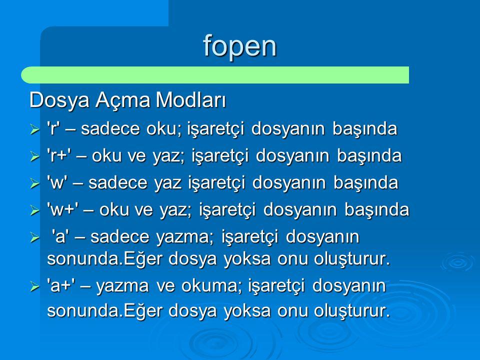 fopen Dosya Açma Modları  'r' – sadece oku; işaretçi dosyanın başında  'r+' – oku ve yaz; işaretçi dosyanın başında  'w' – sadece yaz işaretçi dosy