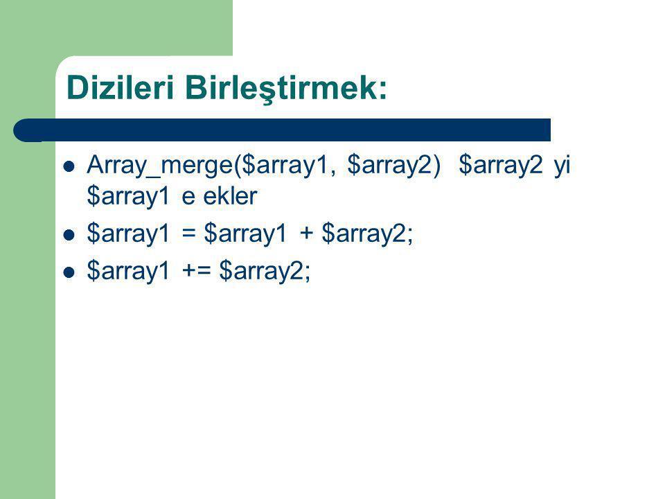 Dizileri Birleştirmek: Array_merge($array1, $array2) $array2 yi $array1 e ekler $array1 = $array1 + $array2; $array1 += $array2;