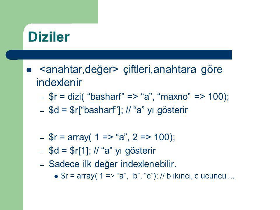 """Diziler çiftleri,anahtara göre indexlenir – $r = dizi( """"basharf"""" => """"a"""", """"maxno"""" => 100); – $d = $r[""""basharf""""]; // """"a"""" yı gösterir – $r = array( 1 =>"""